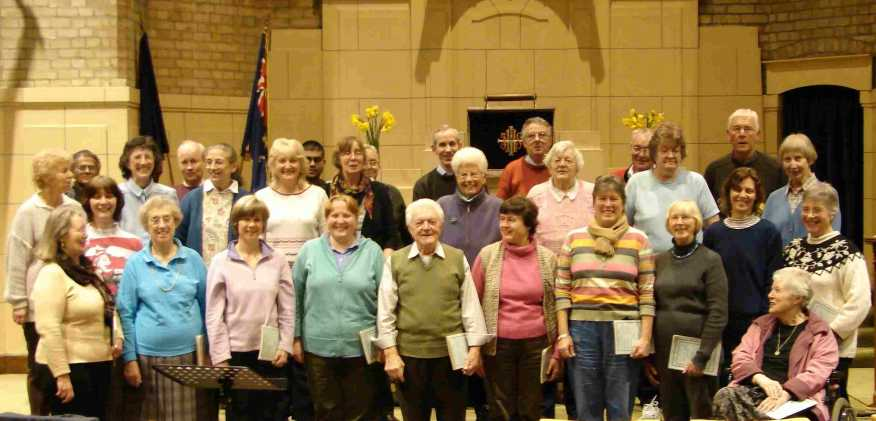 The choir at a rehearsal in Whitton Baptist Church in March 2007