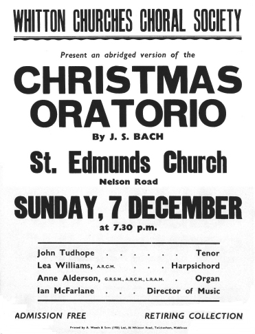 Poster for Christmas Concert probably 1975 (or possibly 1980)
