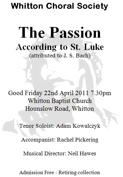 Programme cover for Good Friday 2011